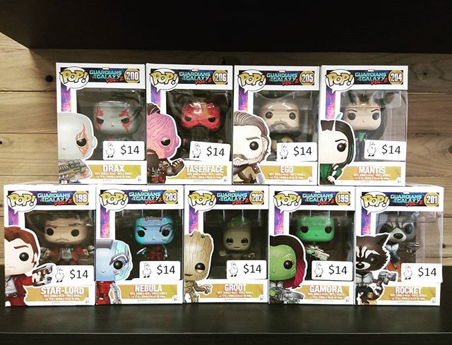 Guardians of the Galaxy 2 Pops are here! #starlord #groot #rocketracoon #drax #gamora #nebula #ego  #mantis #taserface #guardiansofthegalaxy #funko #popculture #collectibles #burlington